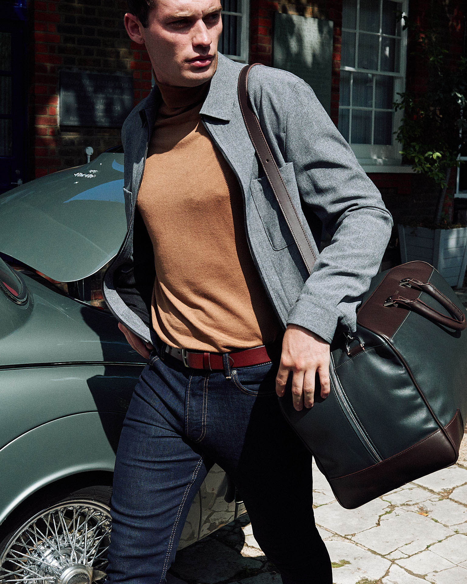 Tusting  stride with holdall by lifestyle photographer Tim Cole