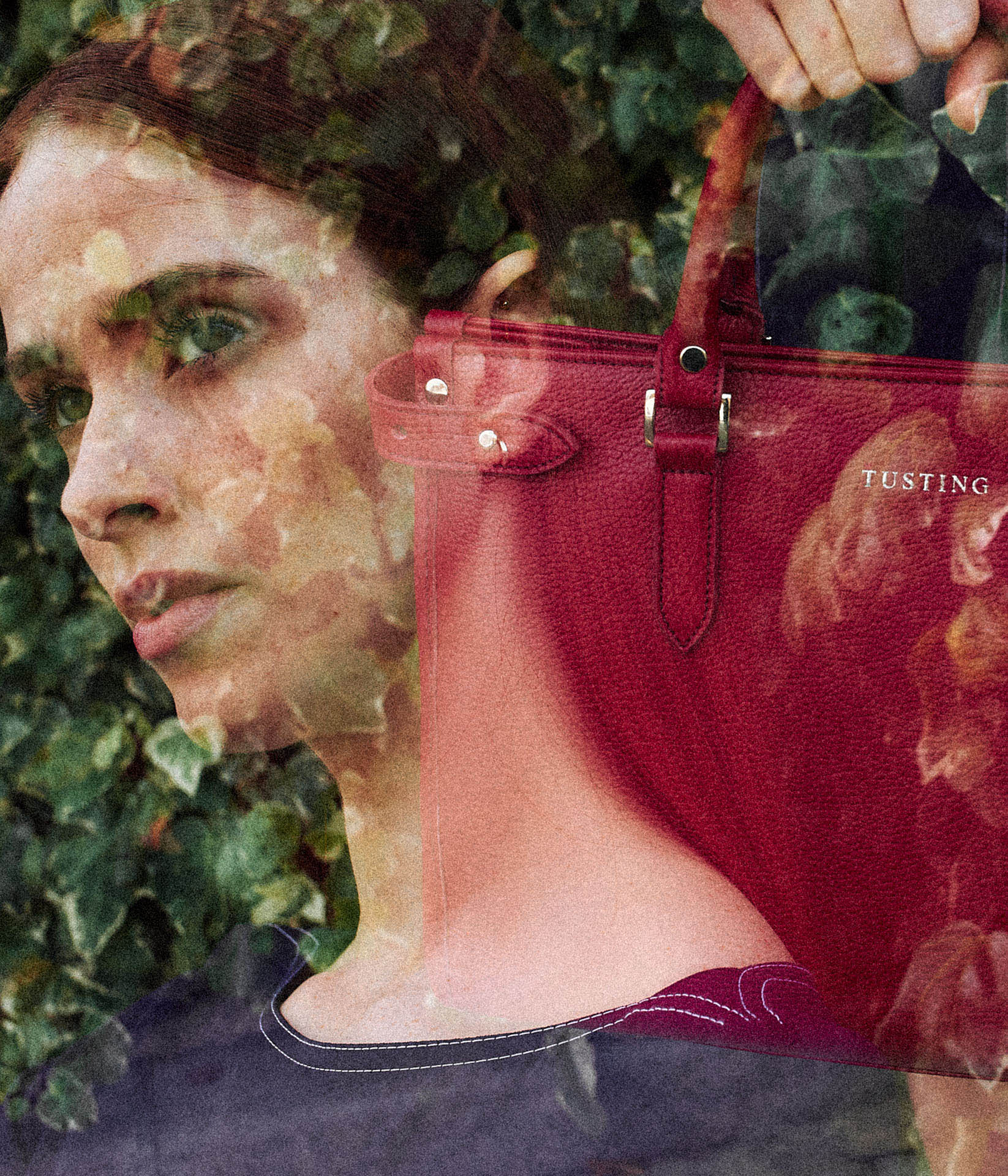 Double exposure, girl with red hair and red leather handbag