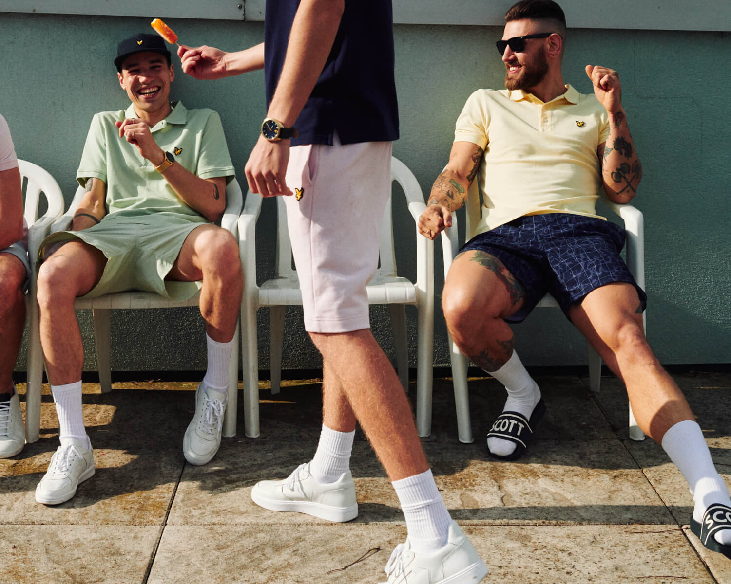 Group of lads, Lyle and Scott on sunny roof terrace