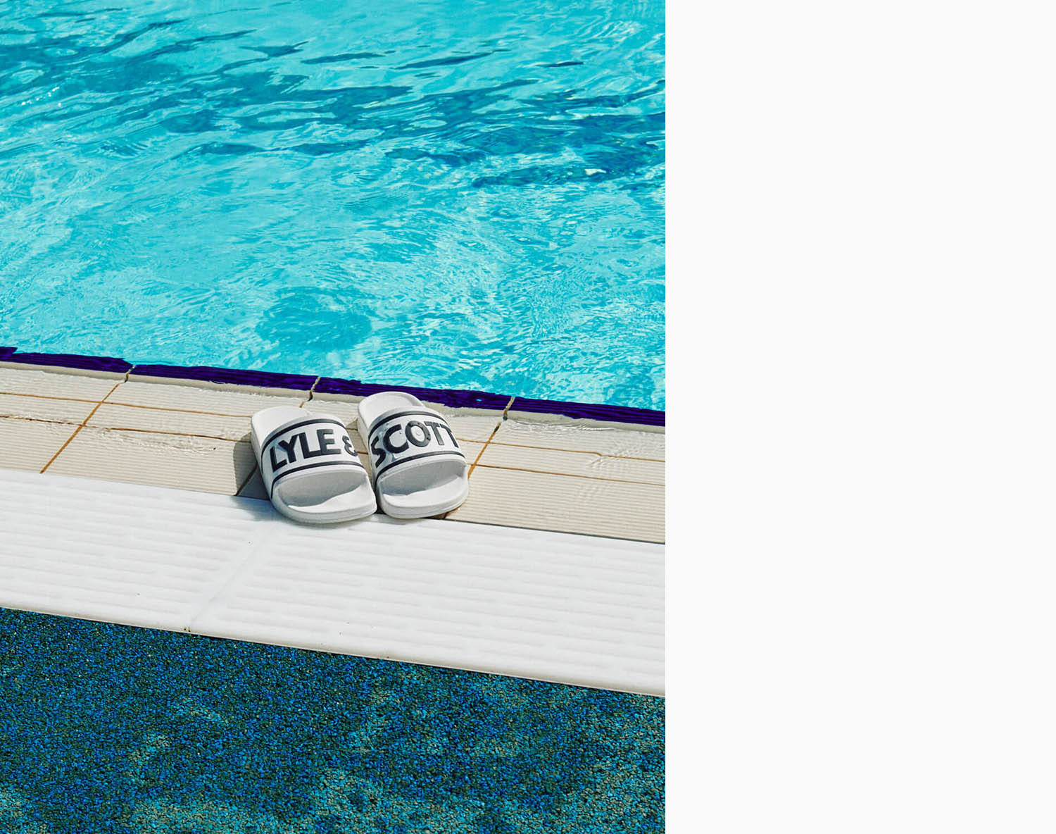 Lyle and Scott poolside white sliders at Charlton Lido