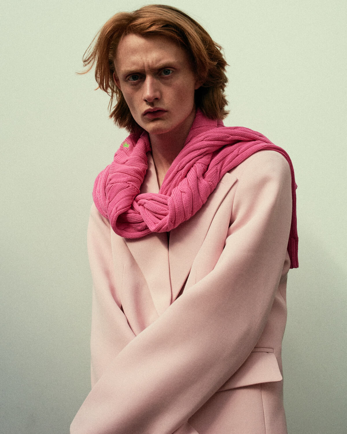 Lad, baggy pink jacket by lifestyle photographer Tim Cole