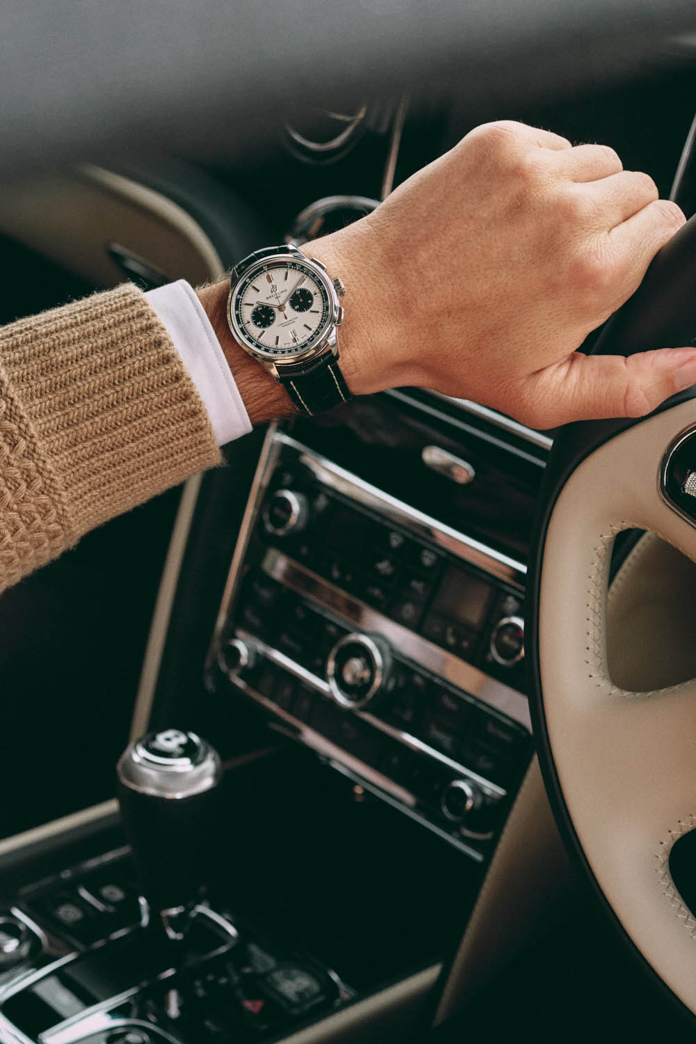 Steering wheel in Bentley, by lifestyle photographer Tim Cole