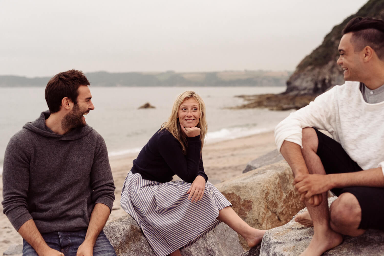 friends, by the sea on a grey day lifestyle photographer Tim Cole