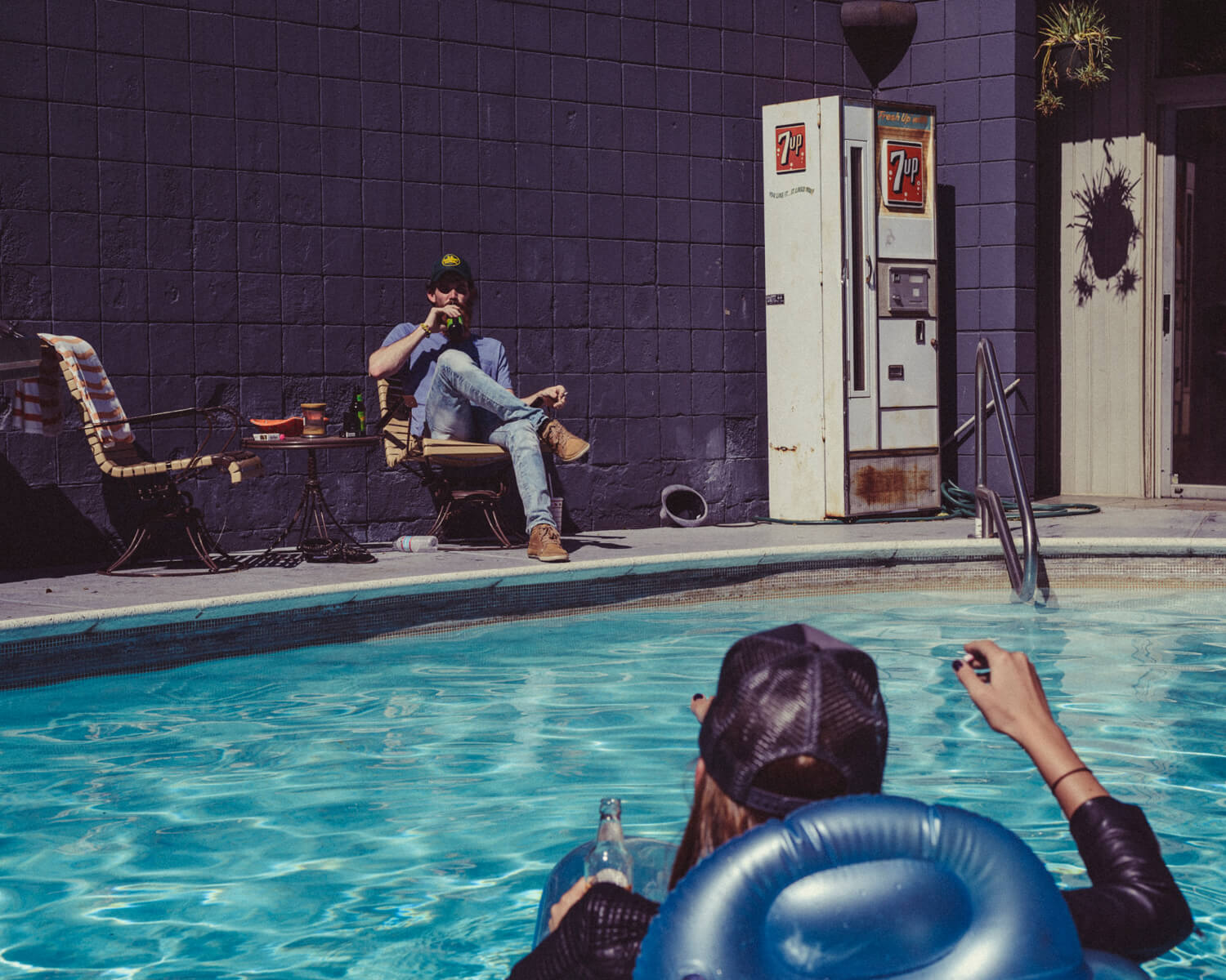 Poolside, biker hipsters, by lifestyle photographer Tim Cole