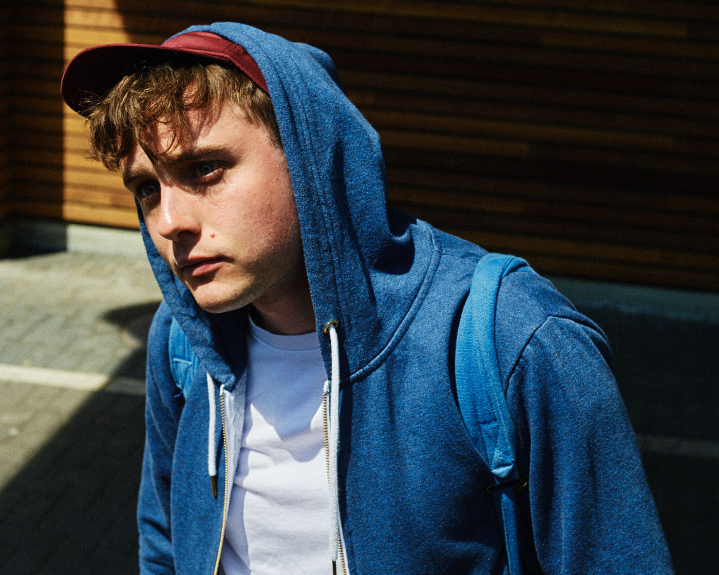 Lifestyle photographer Tim Cole shoots lad in hoodie