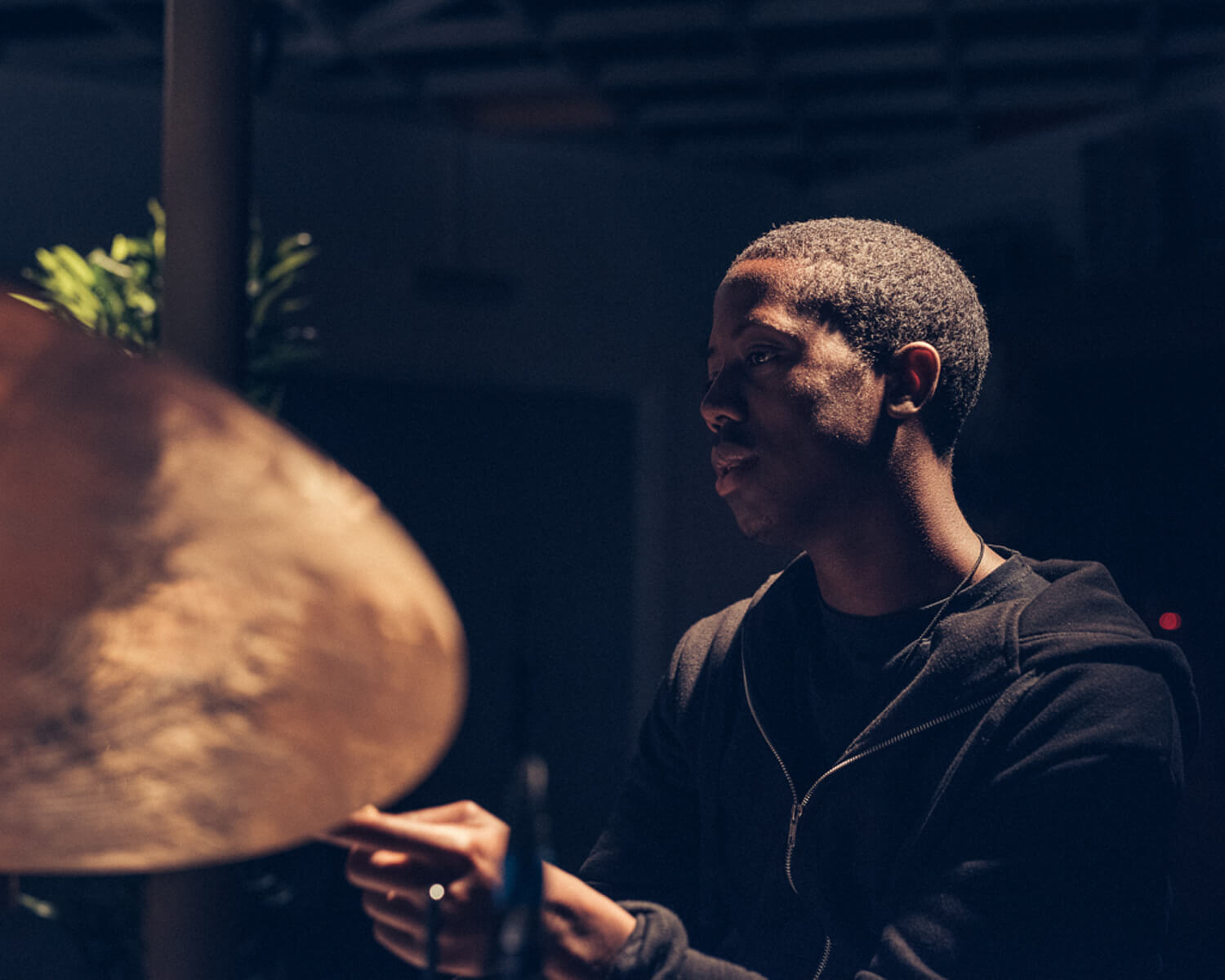 Moses Boyd on drums by portrait photographer Tim Cole